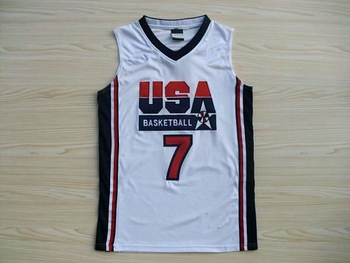 USA 1992 Games Dream team #7 Larry Bird white Basketball men's Jersey,Sports Olympic Jersey,Embroidery Logos,Size 44-54