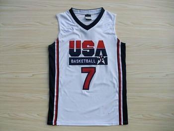 USA 1992 Games Dream team #7 Larry Bird white Basketball men's Jersey,Sports Olympic Jersey