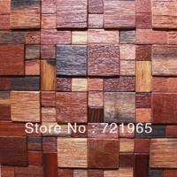 Natural wood mosaic tile rustic wood wall tiles NWMT019 kitchen backsplash wood panel real wood pattern mosaics tiles