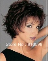 NEW Women's sexy Stylish short brown Curly healthy wig    AAA19