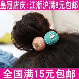 Hair accessory candy fabric polka dot bow headband sweet rabbit hair rope tousheng(China (Mainland))