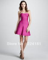 2013 Newest Arrival Ladies HL Bandage Dress Mini Strapless Dress Celebrity Dress Rose red hout slae wholesale