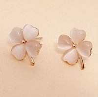 Making Wish Clover Earrings Cat's Eye Stud Earrings Fashion Opal Jewelry E053 Free Shipping