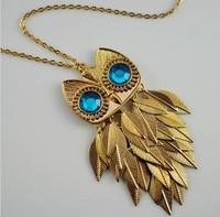 Free Shipping 6pcs/lot Vintage Blue Eye Owl Necklace, Metal Leaf Body chain 76cm, 8*3.5cm pendant