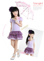Free shipping new 2013 summer korean children's clothing girls 100% cotton cute dot lace princess one-piece dresses