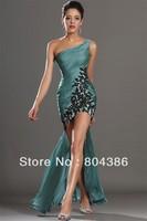 Free shipping one shoulder green chiffon black appliques short front back long prom dress hi low evening dress