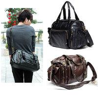 New Men's Fashion Hand bag PU Leather Gym Duffle Handbag Satchel Shoulder Travel Bag for men Dark Brown Black Free shipping
