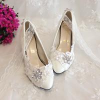 White wedding shoes bride crystal lace shoes lace strap married the bride wedding shoes bridesmaid dress shoes