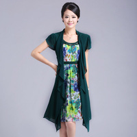 2013 summer fancy quality o-neck short-sleeve chiffon plus size print patchwork faux two piece set women's one-piece dress