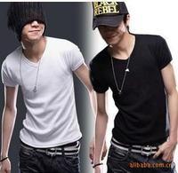 Free shipping! 2013 fashion Men's T-Shirts summer cotton Short sleeves casual designer T shirt V neck T shirt Hot