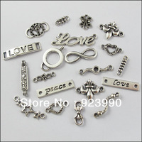 Free Shipping 40Pcs Mixed Tibetan Silver Tone 1-1 Connectors Charms Pendants For Jewelry Making Craft DIY