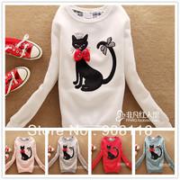 2013 Brand New,Korean/Japan womens sweet butterfly/bow cat Autum Hoodies/Coat/pullover,ladies cute hoodie/sweatshirts,5color