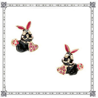 Europe Streets Fashion Jewelry Black Lovely Rabbit Stud Earrings Cute Vintage Alloy Earring