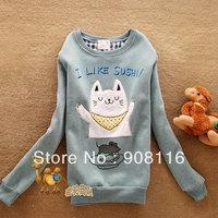 White,Gray,Green,Pink,Red,2013 Brand New,Korean/Japan womens cute Cat mouse Autum Hoodies/pullover,ladies hoodie/sweatshirt