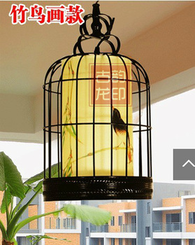 Chinese style living room lights antique bird cage pendant light balcony decoration project light classical light