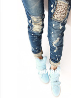 Fashion Women Ladies Leopard  Pattern Sexy Slim Worn Pencil Jeans Pants Trousers 5 Sizes Wholesale Free Shipping