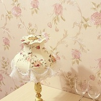 Free shipping Wallpaper rustic flower wallpaper Bedroom garden style floral wallpaper