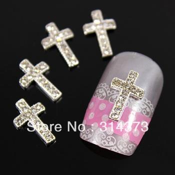 100pcs / lot 12X7mm Silver Alloy Cross Design Clear Rhinestones 3D Nail Art Salon Cell phone Laptop Cover Case DIY Decoration
