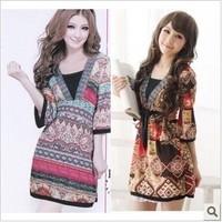 Bohemia vintage national V-neck trend half sleeve high waist cotton viscose one-piece dress