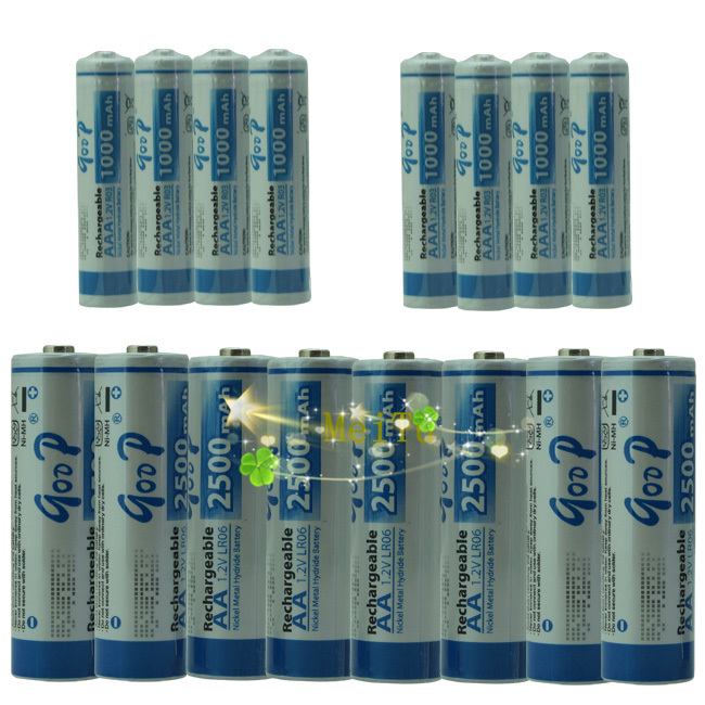 BTY 8+8 1.2v AA 2500 mAh AAA 1000mAh NiMH Ni-MH Rechargeable Recharge Battery Betteries Pack + Free Shipping(China (Mainland))