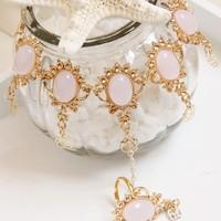 European&America style gorgeous gold tone fashion finger bracelet&ring with sweet pink Resin Stones
