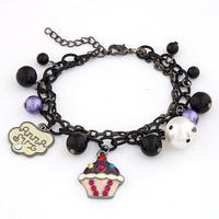 [Mix 15USD] Black chain pearl Beads Cake Charm Bracelet bangle