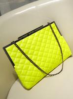 2013 fashion plaid wallet neon color women's handbag one shoulder handbag cross-body bags female