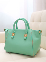 Women's handbag 2013 fashion high quality candy color brief zipper decoration handbag shoulder bag