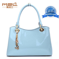 Women's handbag 2013 women's japanned leather handbag fashion check banquet bag fashion handbag messenger bag