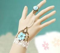 vintage flower bracelet charms with adjustable rings for women fashion jewelry designer handmade girls wedding costume bracelets