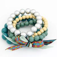 [Mix 15USD] Korea Style Fashion Bohemian Amorous Feelings big bowknot blue beads Bracelet Bangle