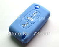 Blue Silicone Case Cover Holder Fob Protecting Bag Fit For Citroen C2 C3 C4 C5 C6 C8 Xsara Picasso With 3 Buttons