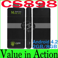 CS898 RK3188t Quad Core TV Stick Google Android 4.2 Mini PC 1.8Ghz 2GB RAM 8GB ROM Bluetooth 2.0 HDMI Mini TV Dongle Player