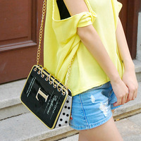 Bags 2013 bag japanned leather women's patent leather handbag candy color chain bag bag messenger bag