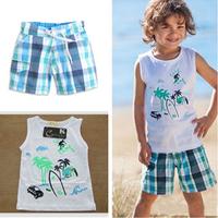 HOT!! Free shipping 5 sets/lot British style boy summer clothing set, printed beach pattern white vest + blue plaid board shorts