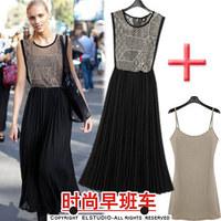 2013 summer reticularis patchwork cutout sleeve pleated skirt length skirt chiffon  dress 13xop1670