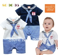 Free Shipping Children Wear infant Boy's navy style short sleeve Baby Romper