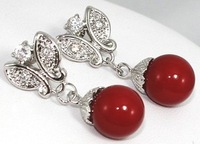 Free shipping Fashion gothic jewelry for women Silver plated Red Sea Shell Pearl&Crystal Drop Earrings