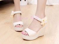 2014 platform shoes platform sandals sweet pearl flower wedges sandals open toe velcro women's fashion shoes