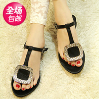 Fashion square rhinestone buckle the trend silk side flip-flop flat sandals 2014 female shoes