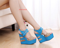 2014 PU wedges sandals sweet female high-heeled shoe platform open toe platform sandals female