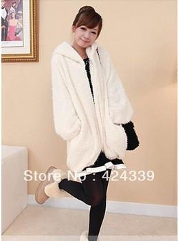 2013 New Free Shipping Women's Leisure Long Sleeve Pocket Warm Imitate Fur Winter Hooded Coat White N10091602