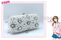 Hot New Fashion Celebrity Vintage Pearl Bridal Bag Lady Party Clutch Bag Free Shipping PD 571