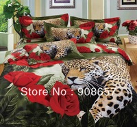 red rose flower with brown leopard animal printed bedding set 3D oil painting bed linen cotton full queen duvet covers sets 4pcs