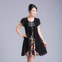 Summer new arrival 2013 loose-waisted plus size diamond o-neck faux two piece chiffon print one-piece dress