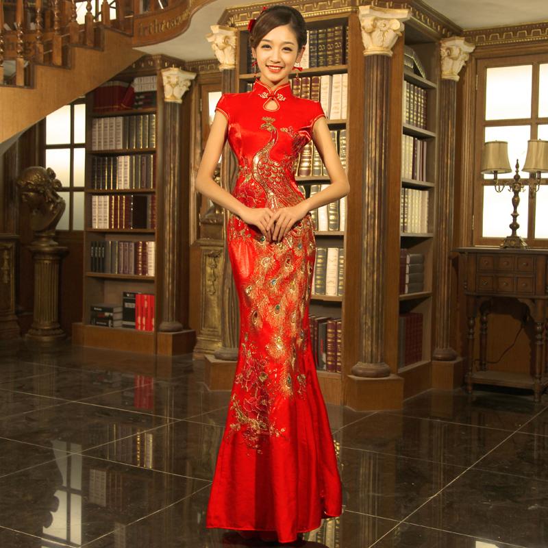 Livre mulheres frete Cheongsam vestido de noiva bordado , moda China festa vestido estilo rabo de peixe do vintage o design longo(China (Mainland))