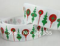"Free Shipping 50yards 1""(25mm) Printed Christmas Lantern Grosgrain Ribbon For Scrapbooking"