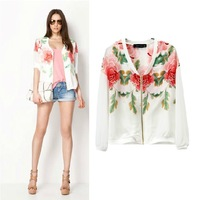 New Arrived Fashion  Big Flower Print Casual Coat Jacket Sun Protection Clothing Women's Shirt S,M,L