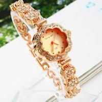 Luxury&Fashion Ladies Wrist watch Crystal Bracelet Watch  Business Golden Watch Flower Band Watch