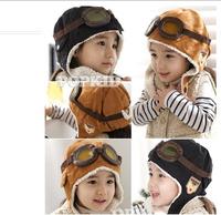 1pcs Promotion 100% wool Baby Winter Hats Children Pilot Hat/Caps boys flight caps winter baby hat kids Warmer earflap beanie
